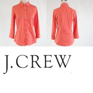 J.Crew Coral Haberdashery 3/4 sleeve button Blouse